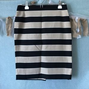LOFT Tan & Black Striped Pencil Skirt -977
